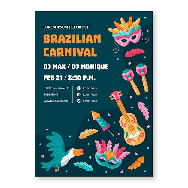 Szablon Ulotki Brazylijskiego Karnawału Darmowych Wektorów