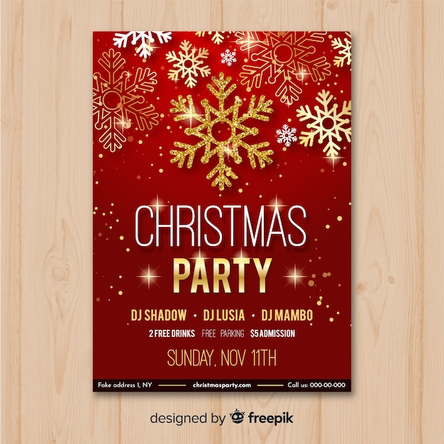 Szablon ulotki Christmas party w kolorze czerwonym i złotym Darmowych Wektorów