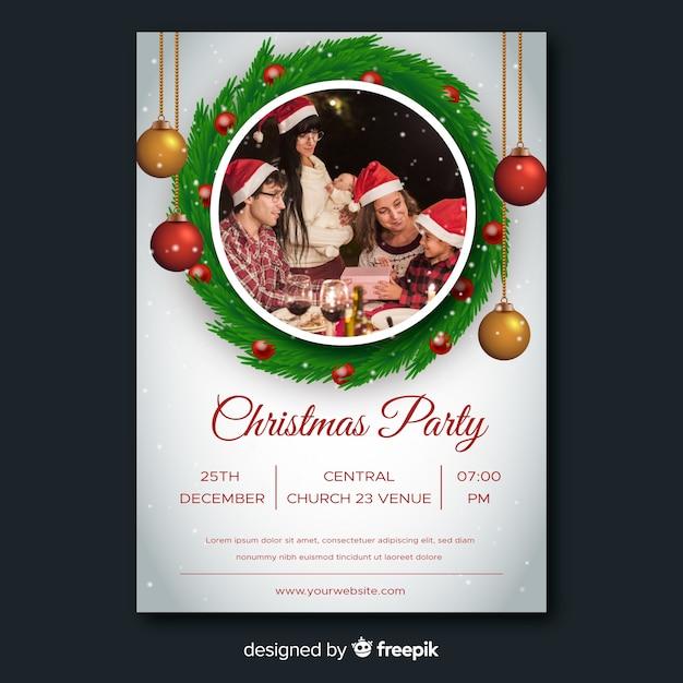 Szablon ulotki christmas party z globusy Darmowych Wektorów