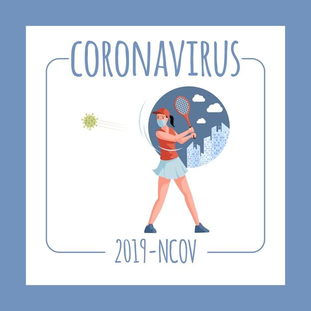 Szablon Ulotki Coronavirus Ncov-2019. Tenisista W Masce Na Twarz Walczący Z Komórkami Covida-19 Z Rakietą Tenisową. Premium Wektorów