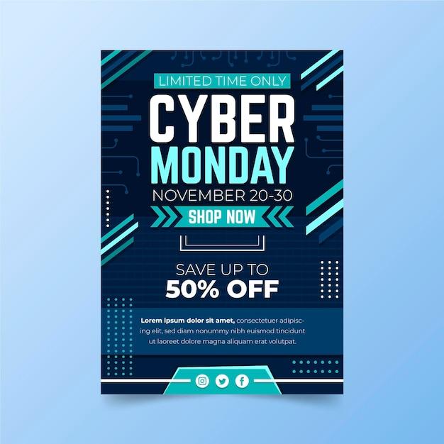 Szablon Ulotki Cyber Poniedziałek W Płaskiej Konstrukcji Premium Wektorów