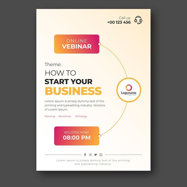 Szablon Ulotki Dla Webinarów Biznesowych Online Premium Wektorów
