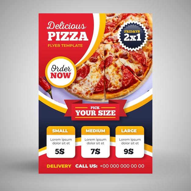 Szablon Ulotki Dostawa Pizzy Ze Zdjęciem Darmowych Wektorów