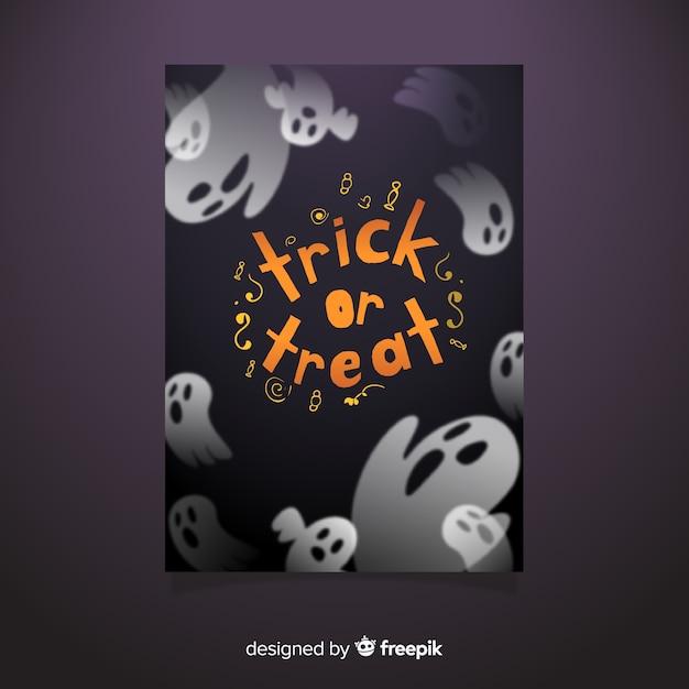 Szablon Ulotki Halloween Party Duch Darmowych Wektorów