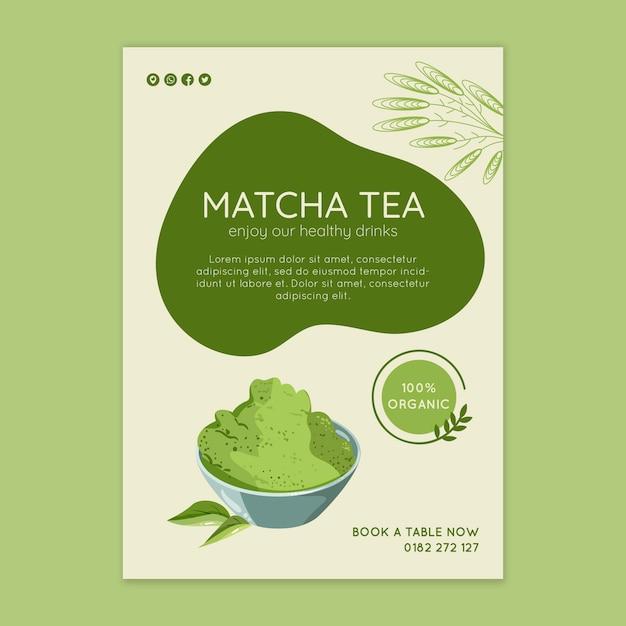 Szablon Ulotki Herbaty Matcha Premium Wektorów