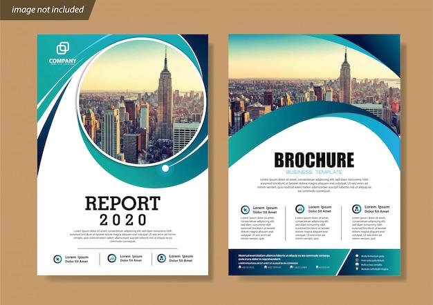 Szablon ulotki i broszury na okładkę dla raportu rocznego Premium Wektorów