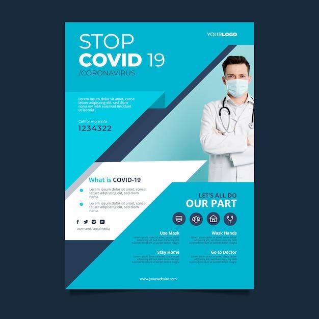 Szablon Ulotki Informacyjnej Na Temat Koronawirusa Darmowych Wektorów