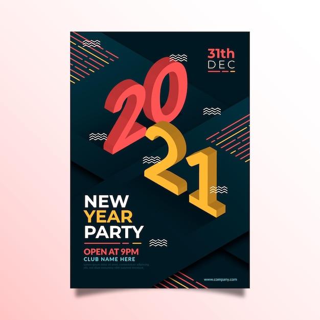 Szablon Ulotki Izometrycznej Nowego Roku 2021 Darmowych Wektorów
