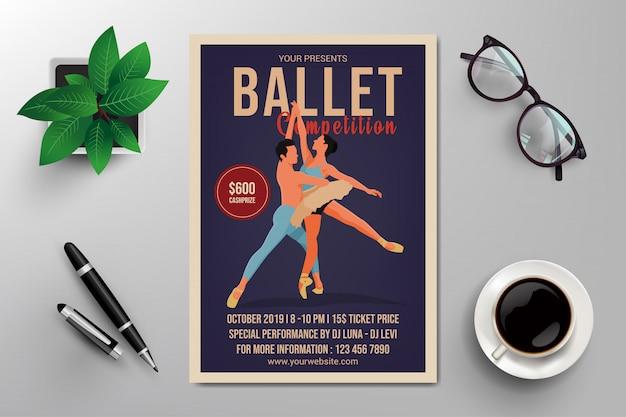 Szablon Ulotki Konkurs Baletowy Premium Wektorów