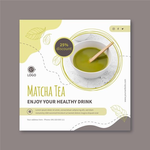 Szablon Ulotki Kwadratowej Herbaty Matcha Darmowych Wektorów