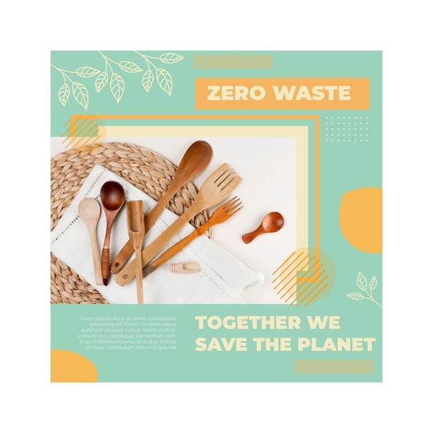 Szablon Ulotki Kwadratowej Zero Odpadów środowiska Premium Wektorów
