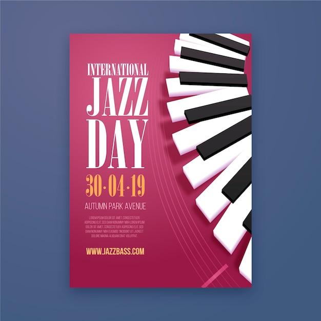 Szablon Ulotki Międzynarodowy Dzień Jazzu Darmowych Wektorów
