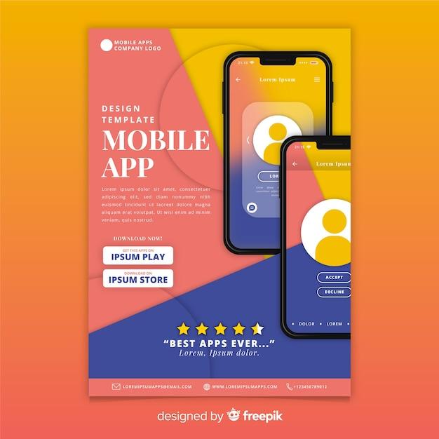 Szablon ulotki mobilnej aplikacji Darmowych Wektorów