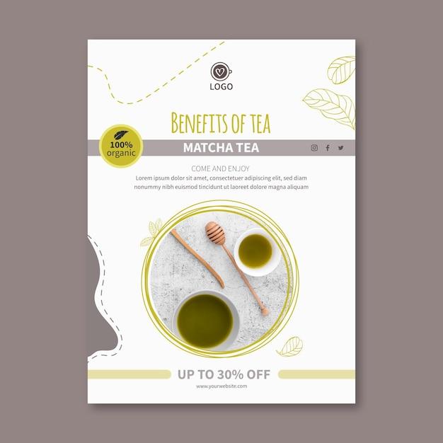 Szablon Ulotki Pionowej Herbaty Matcha Premium Wektorów