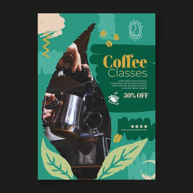 Szablon Ulotki Pionowej Klas Kawy Darmowych Wektorów
