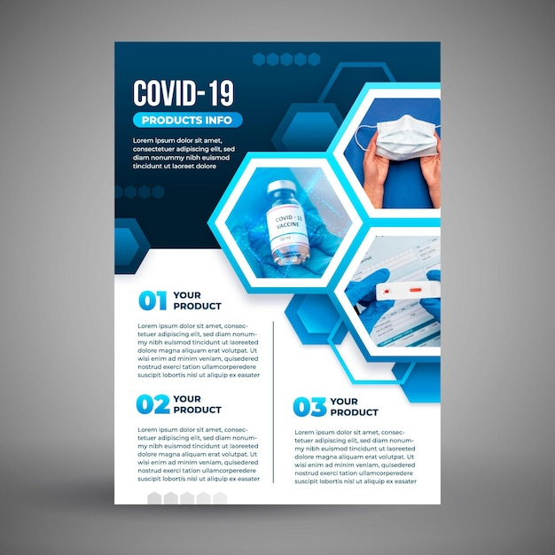 Szablon Ulotki Produktów Medycznych Koronawirusa Ze Zdjęciem Darmowych Wektorów