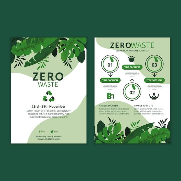 Szablon Ulotki Reklamowej Zero Waste Premium Wektorów