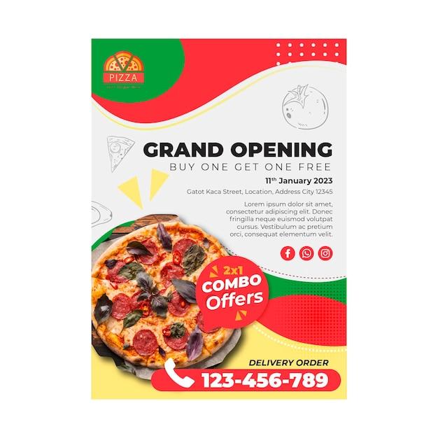 Szablon Ulotki Restauracji Pizzy Premium Wektorów