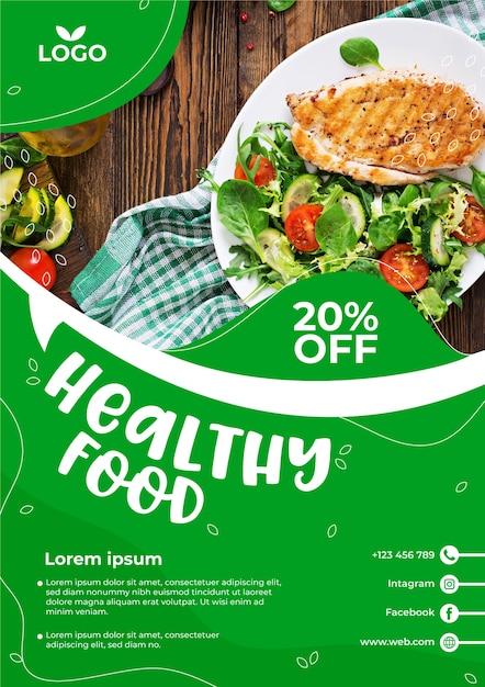 Szablon Ulotki Restauracji Zdrowej żywności Ze Zdjęciem Darmowych Wektorów