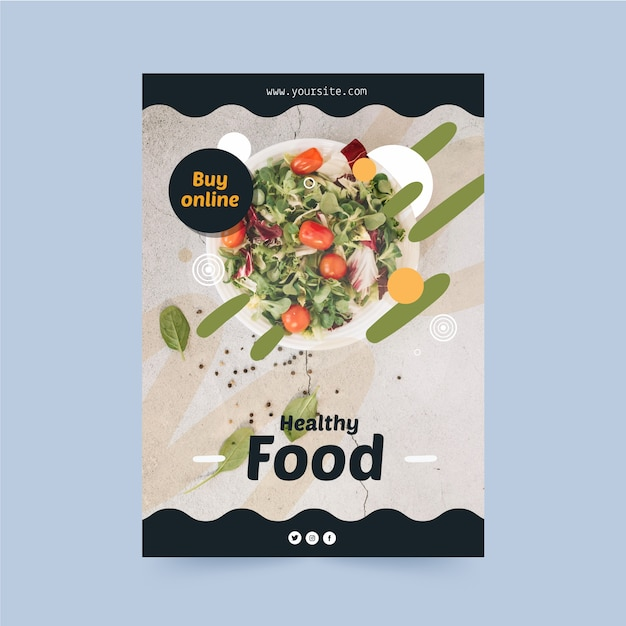 Szablon Ulotki Restauracji Zdrowej żywności Darmowych Wektorów