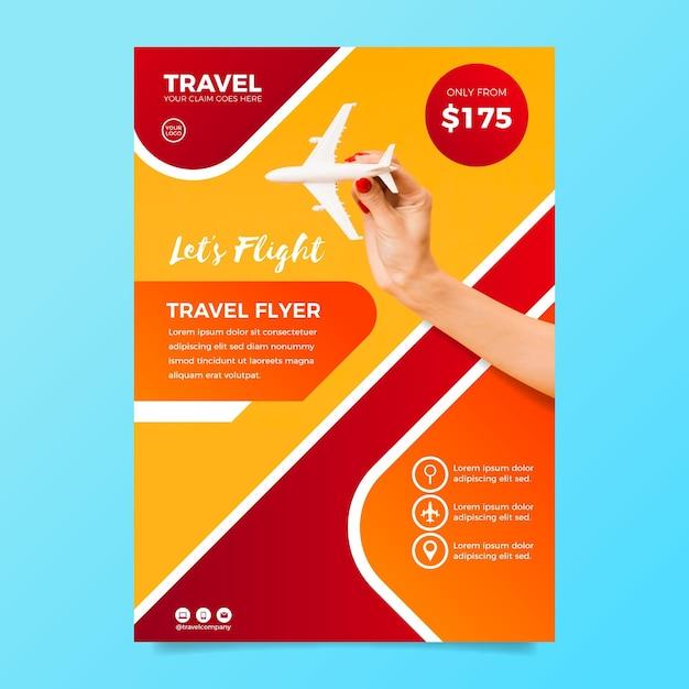 Szablon Ulotki Sprzedaży Podróży Ze Zdjęciem Premium Wektorów