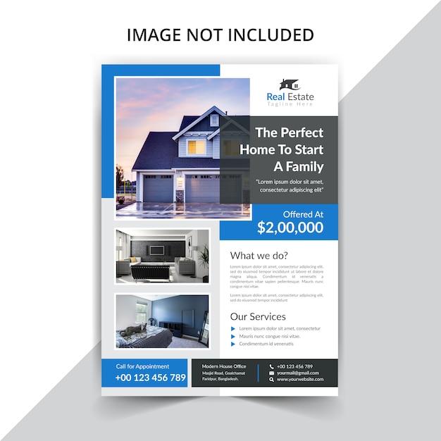Szablon Ulotki Stanu Rzeczywistego Na Sprzedaż Domu Premium Wektorów