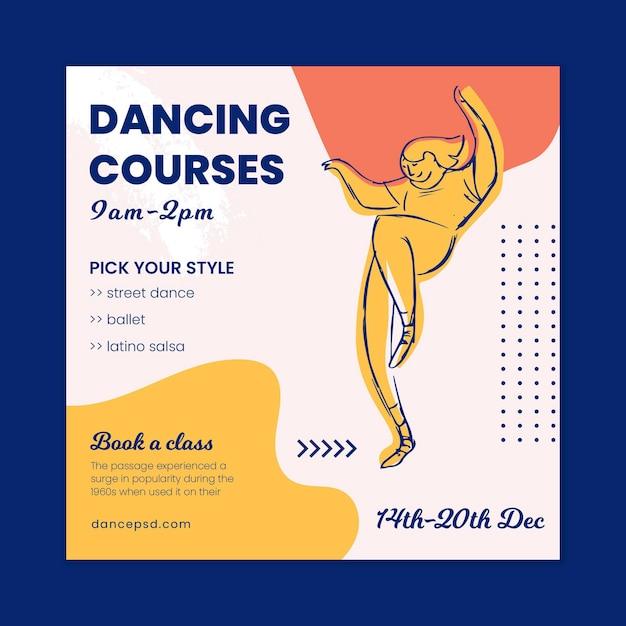 Szablon Ulotki Szkoły Tańca Premium Wektorów