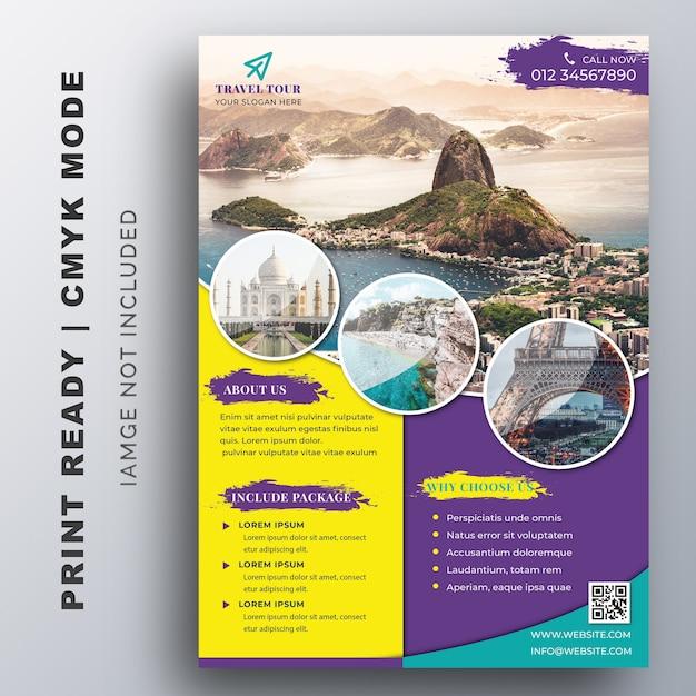 Szablon Ulotki Tour & Travel Premium Wektorów