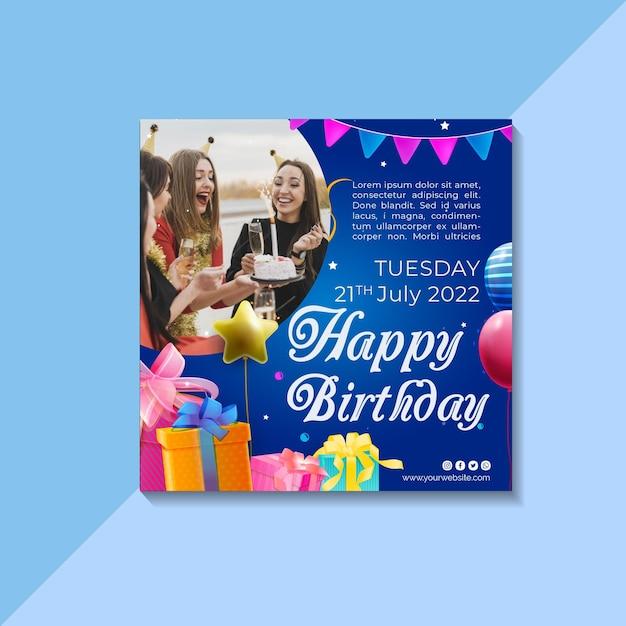Szablon Ulotki Urodzinowej Premium Wektorów