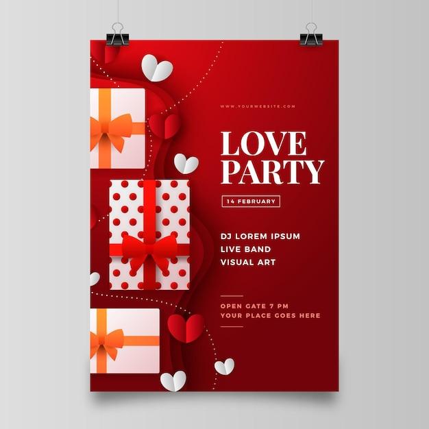 Szablon Ulotki Walentynkowej W Stylu Papierowym Darmowych Wektorów