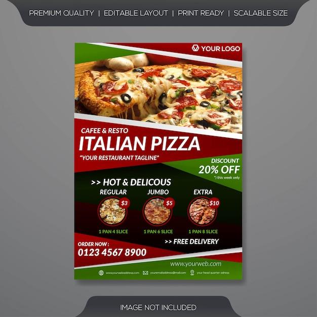 Szablon Ulotki Włoskiej Pizzy Premium Wektorów