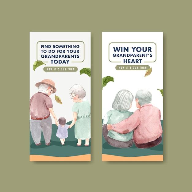 Szablon Ulotki Z Krajowym Projektem Koncepcyjnym Dnia Dziadków Na Reklamę I Marketingową Akwarelę. Darmowych Wektorów