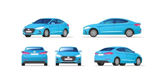 Szablon Wektor Samochodu Na Białym Tle. Biznesowy Sedan Na Białym Tle. Premium Wektorów