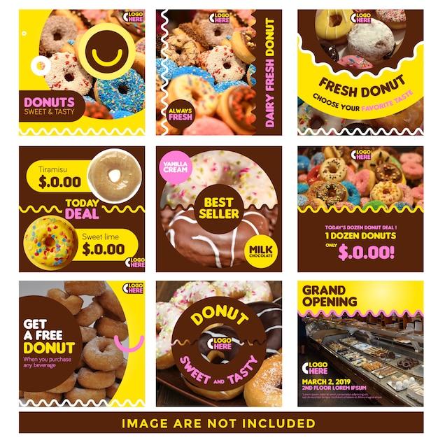 Szablon wiadomości social media donut Premium Wektorów