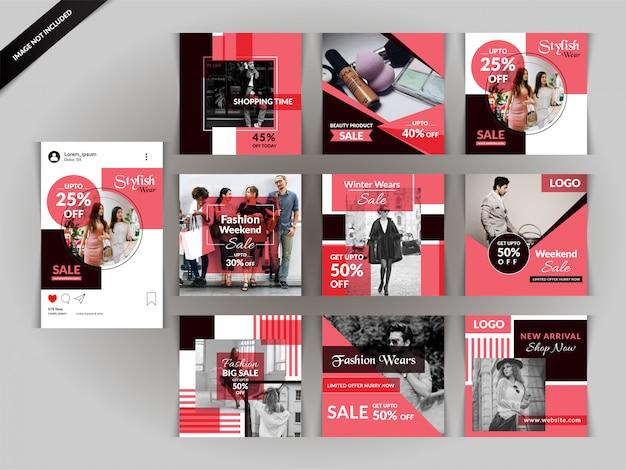 Szablon wiadomości social media red fashion Premium Wektorów