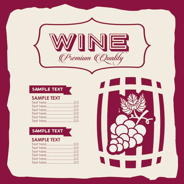 Szablon wina menu Darmowych Wektorów