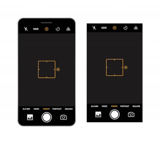 Szablon Wizjera Aparatu Smartfona. Nagrywanie Z Kamery. Premium Wektorów