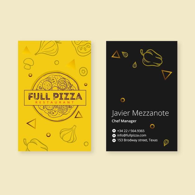 Szablon Wizytówki Dla Restauracji Pizzy Darmowych Wektorów