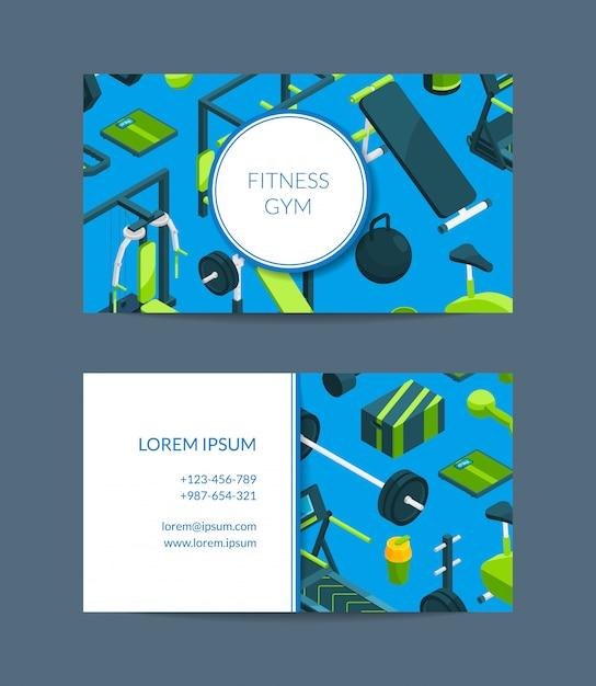 Szablon wizytówki fitness i klub sportowy Premium Wektorów