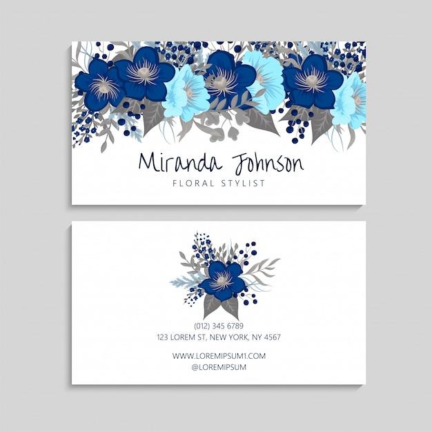 Szablon wizytówki niebieski kwiat Darmowych Wektorów