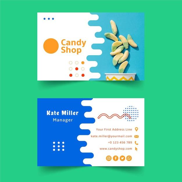Szablon Wizytówki Sklepu Ze Słodyczami Premium Wektorów