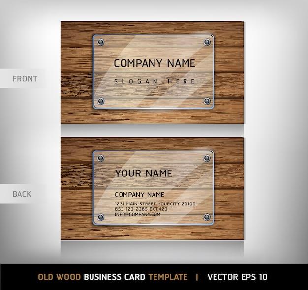 Szablon wizytówki stare drewniane tekstury Premium Wektorów