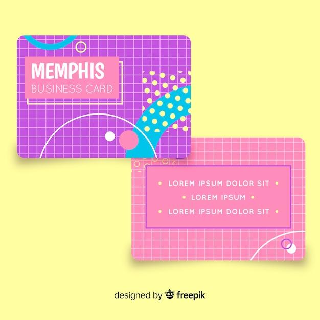 Szablon Wizytówki W Stylu Memphis Darmowych Wektorów