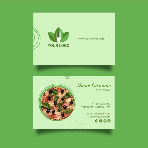 Szablon Wizytówki Zdrowej Restauracji Darmowych Wektorów