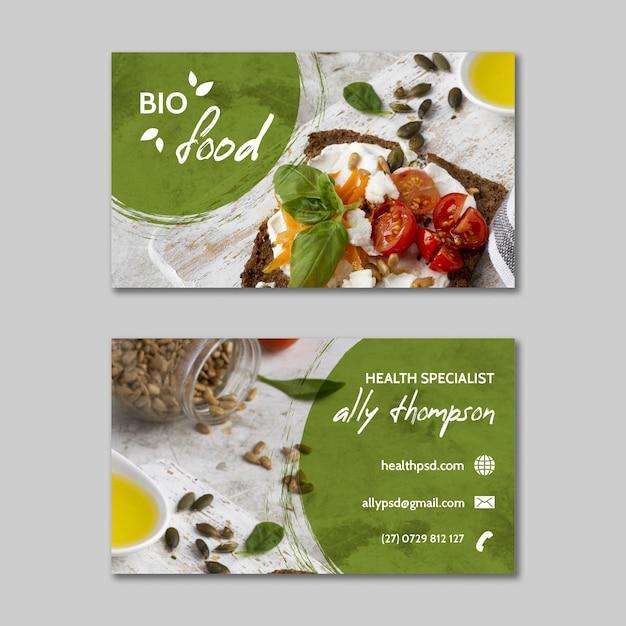Szablon Wizytówki Zdrowej żywności Premium Wektorów