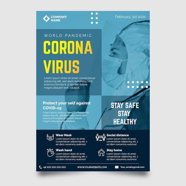 Szablon Wydruku Produktów Medycznych Koronawirusa Ze Zdjęciem Darmowych Wektorów