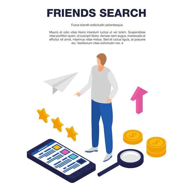 Szablon Wyszukiwania Znajomych, Styl Izometryczny Premium Wektorów