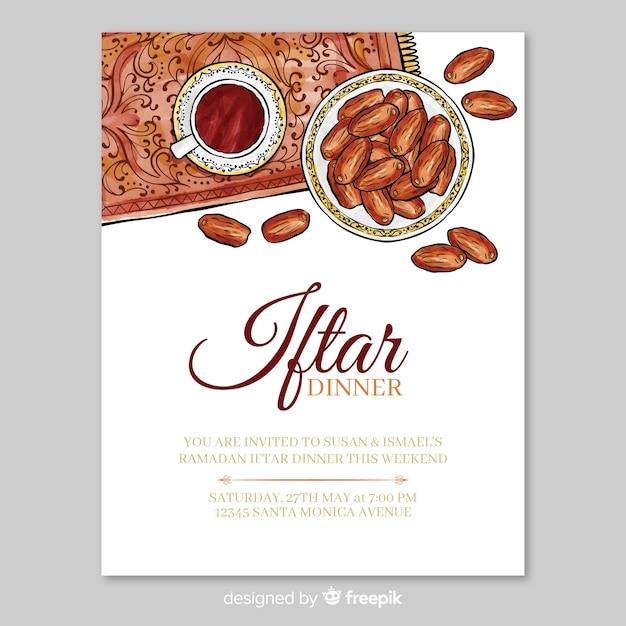 Szablon zaproszenia akwarela iftar Darmowych Wektorów