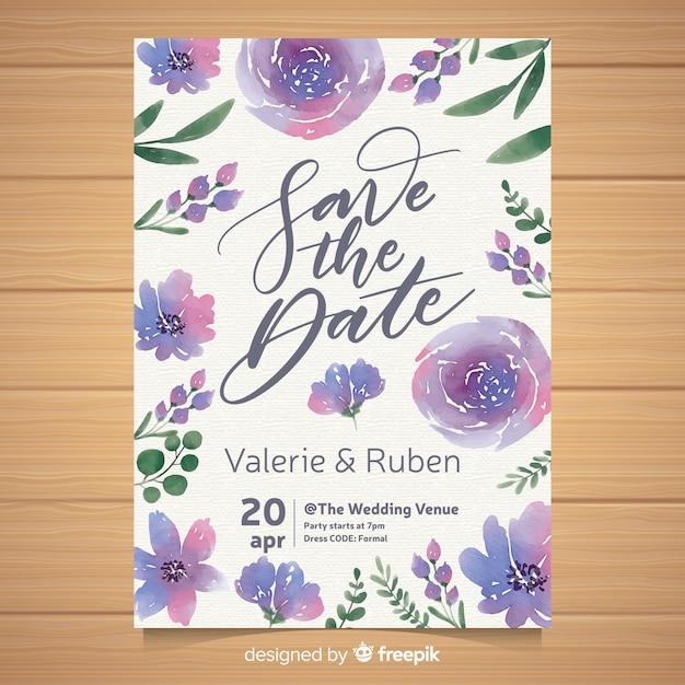 Szablon zaproszenia akwarela kwiatowy wesele Darmowych Wektorów