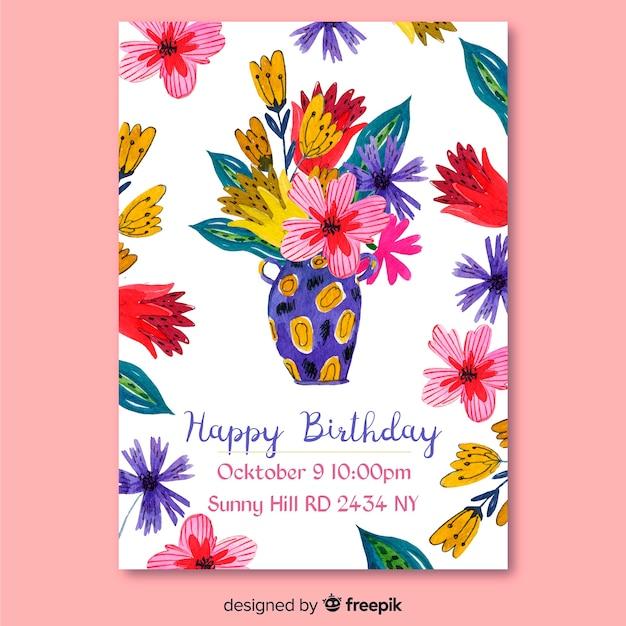 Szablon zaproszenia akwarela urodziny kwiatowy Darmowych Wektorów